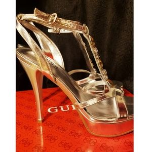 Guess Shoes - Guess Silver Platform Heels with Yellow Gem